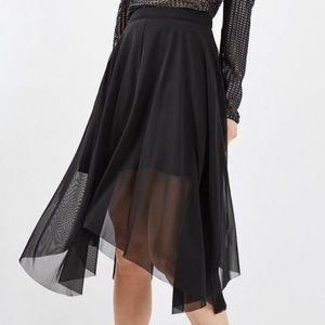 TOPSHOP Black Asymmetrical Midi Skirt